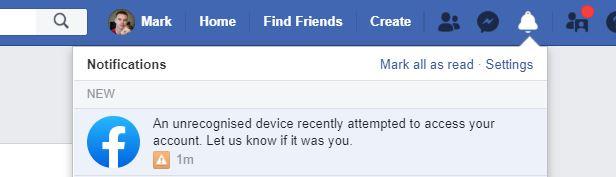 Facebook Unrecognised Device Alert