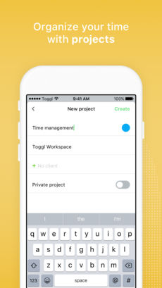 Toggl App Projects